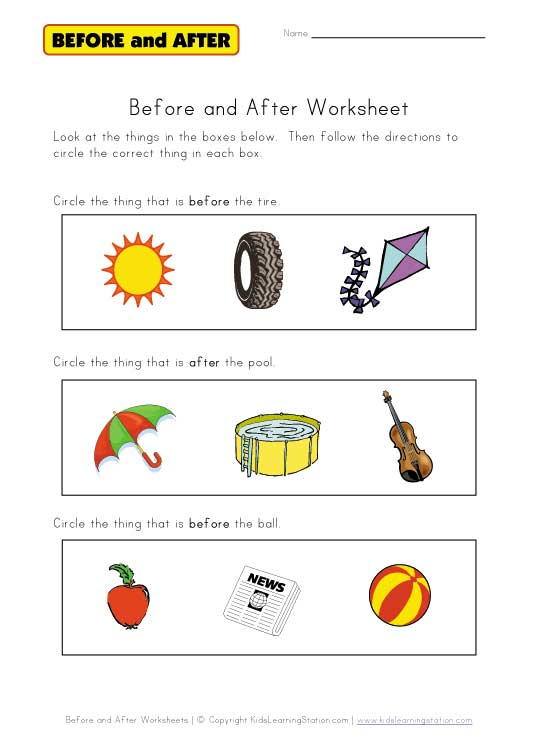 Before And After Worksheet (free Worksheets)