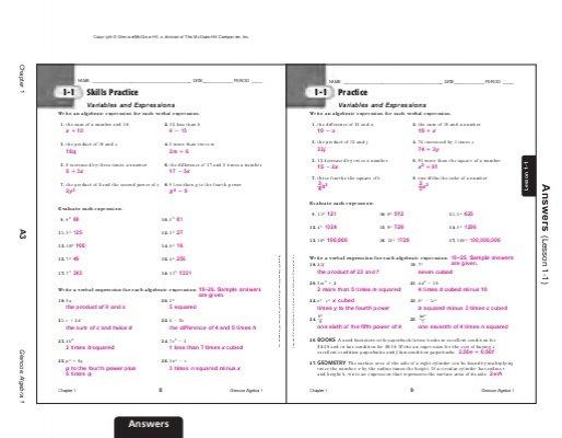 Best Solutions Of Glencoe Algebra 1 Worksheets Answer Key In