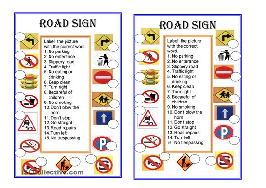 Brilliant Ideas Of Road Signs Worksheets Printable In Sheets