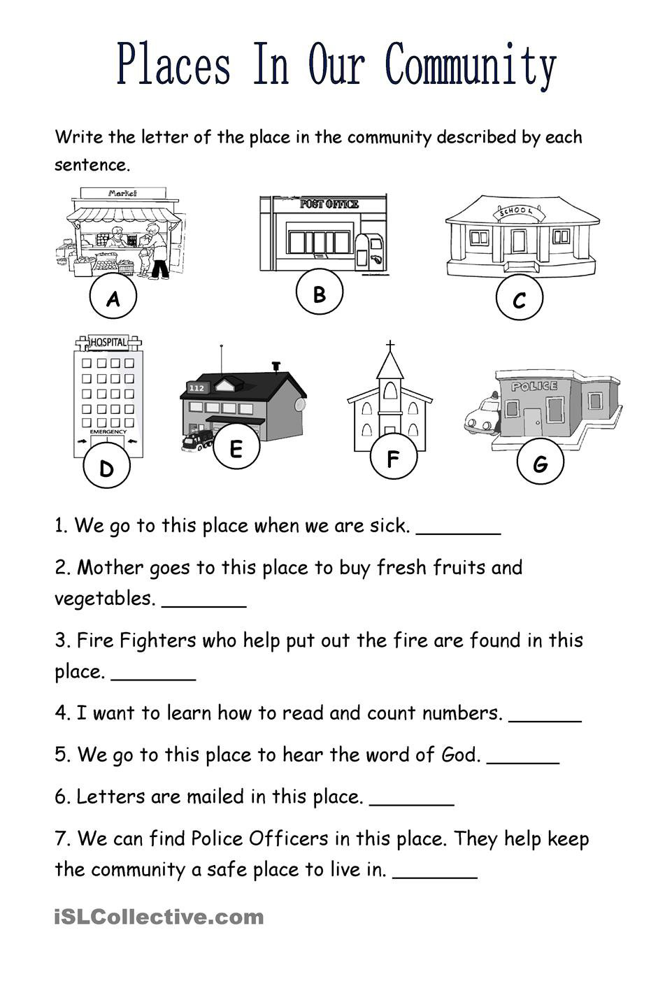 Bunch Ideas Of Community Places Worksheets About Download