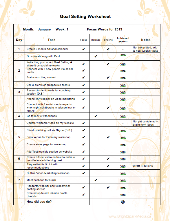 Business Goal Setting Template