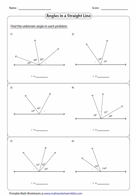 Calculating Angles On A Straight Line Worksheets