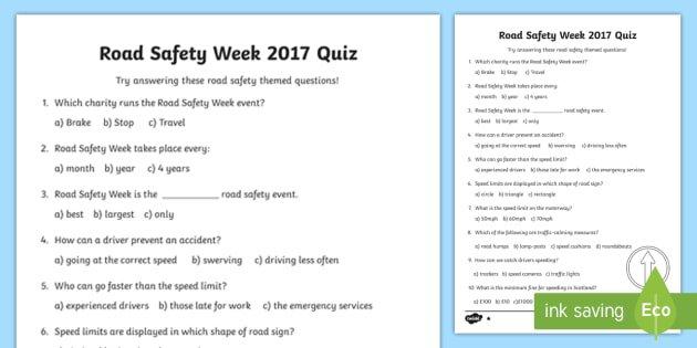 Cfe Road Safety Week Quiz Worksheet   Activity Sheet