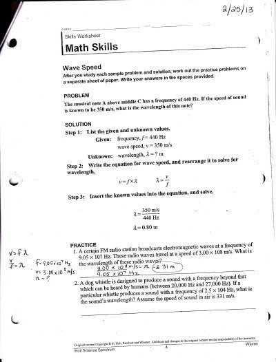 Chapter 15 Math Skills Wave Speed