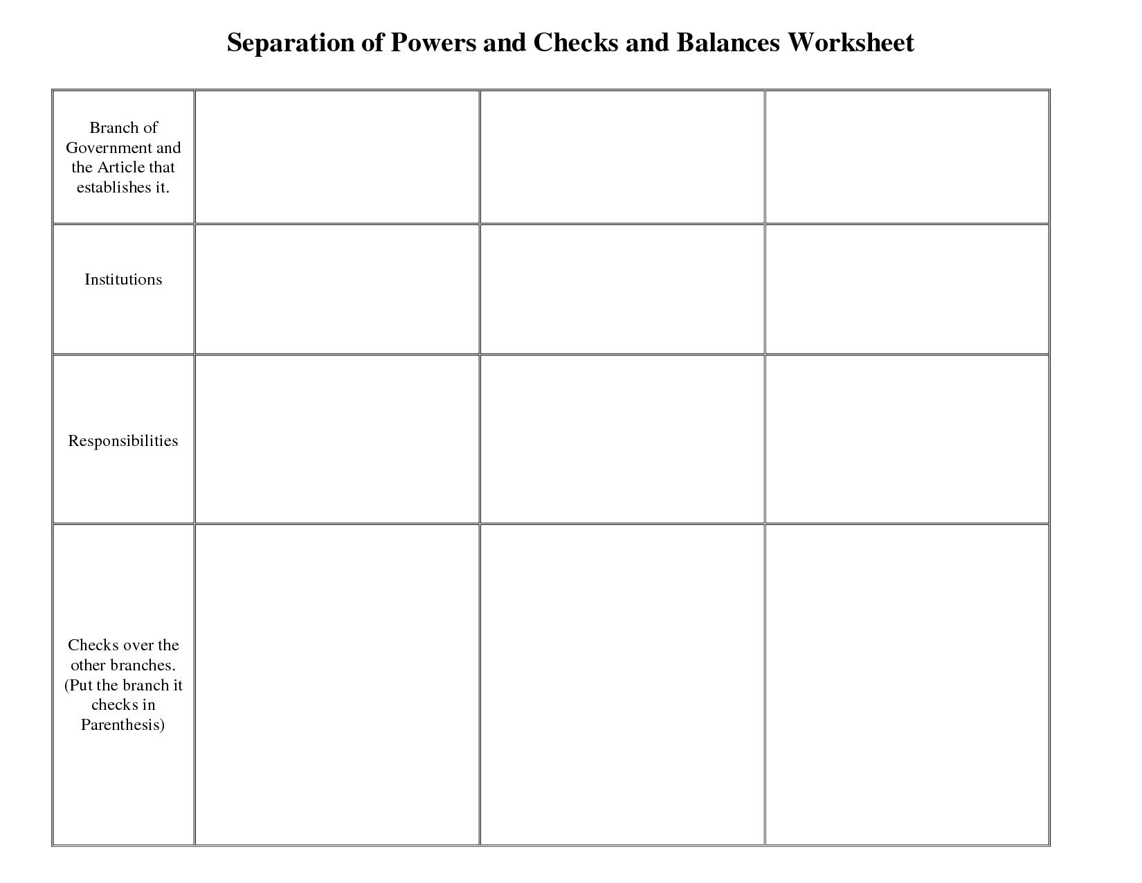 Checks And Balances Worksheet High School The Best Worksheets