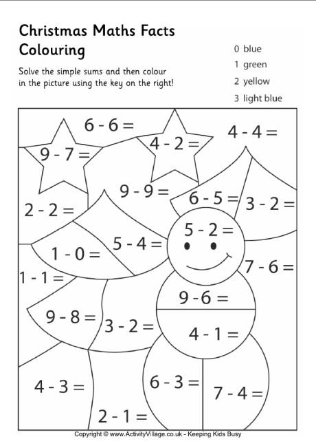 Christmas Maths Facts Colouring Pages