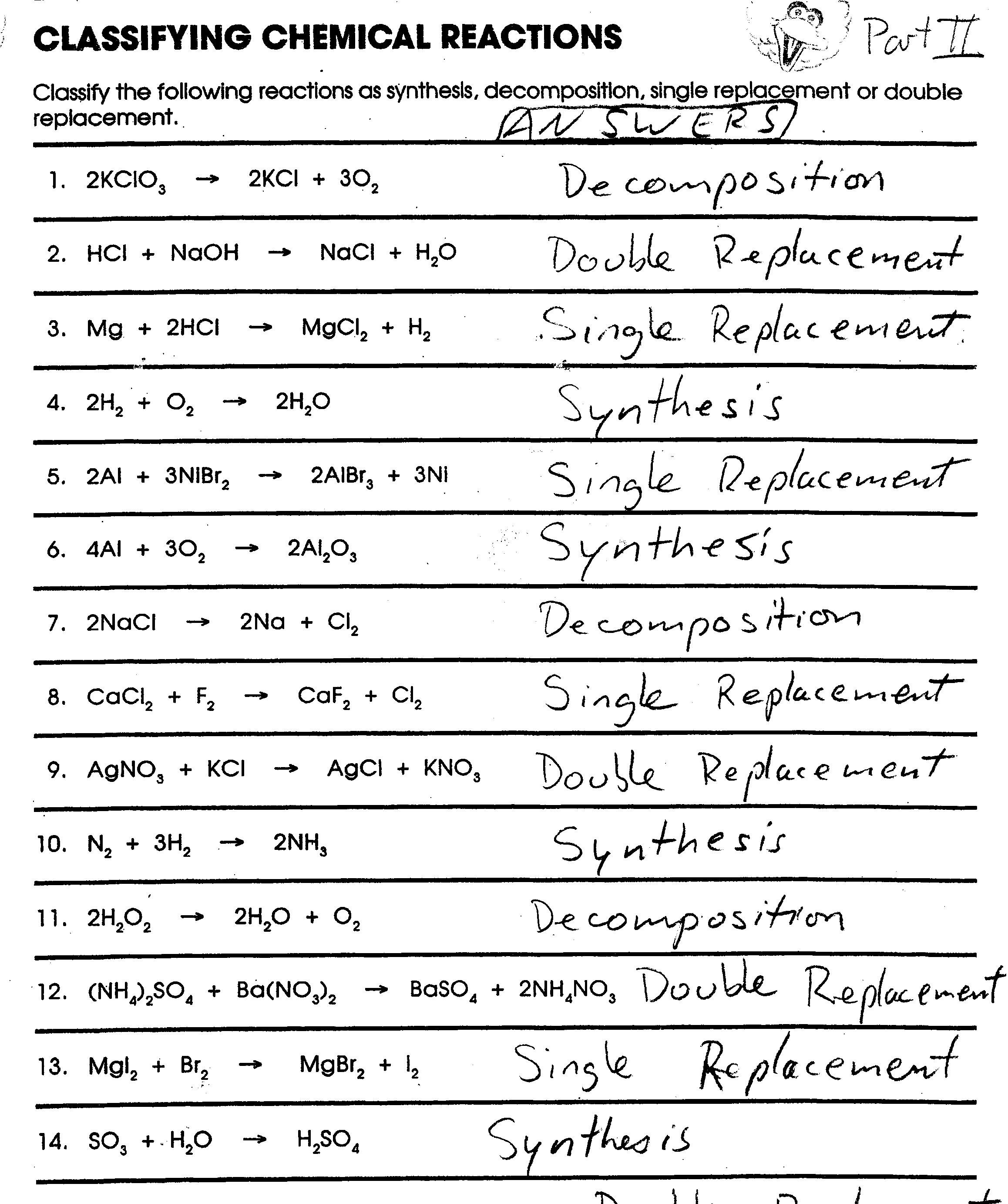 Classifying Chemical Reactions Worksheet The Best Worksheets Image