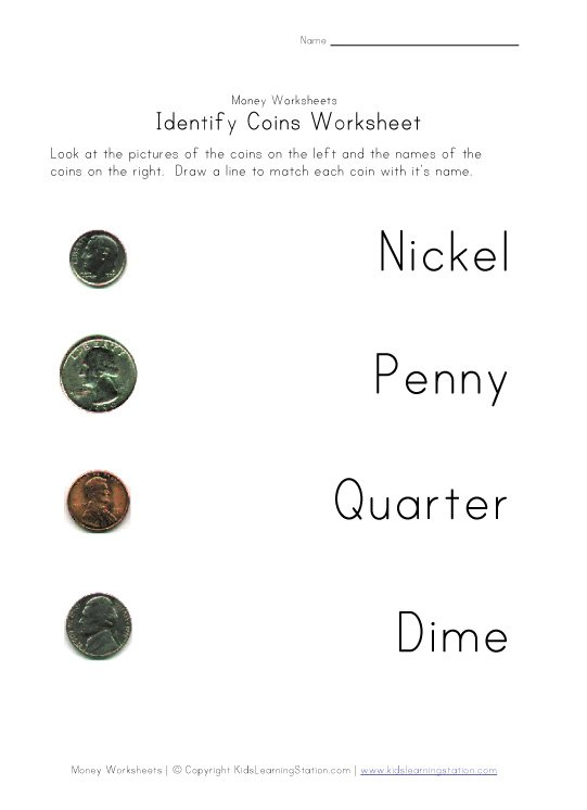Coin Names Worksheet  Quarter, Dime, Nickel And Penny