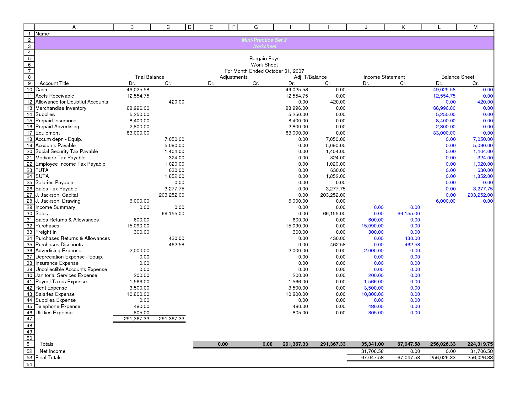 Collection Of Accounting Worksheet Columns
