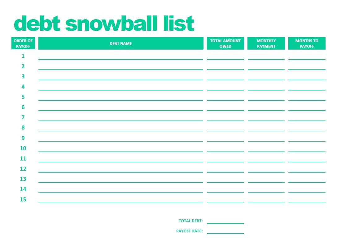Collection Of Debt Snowball Worksheet