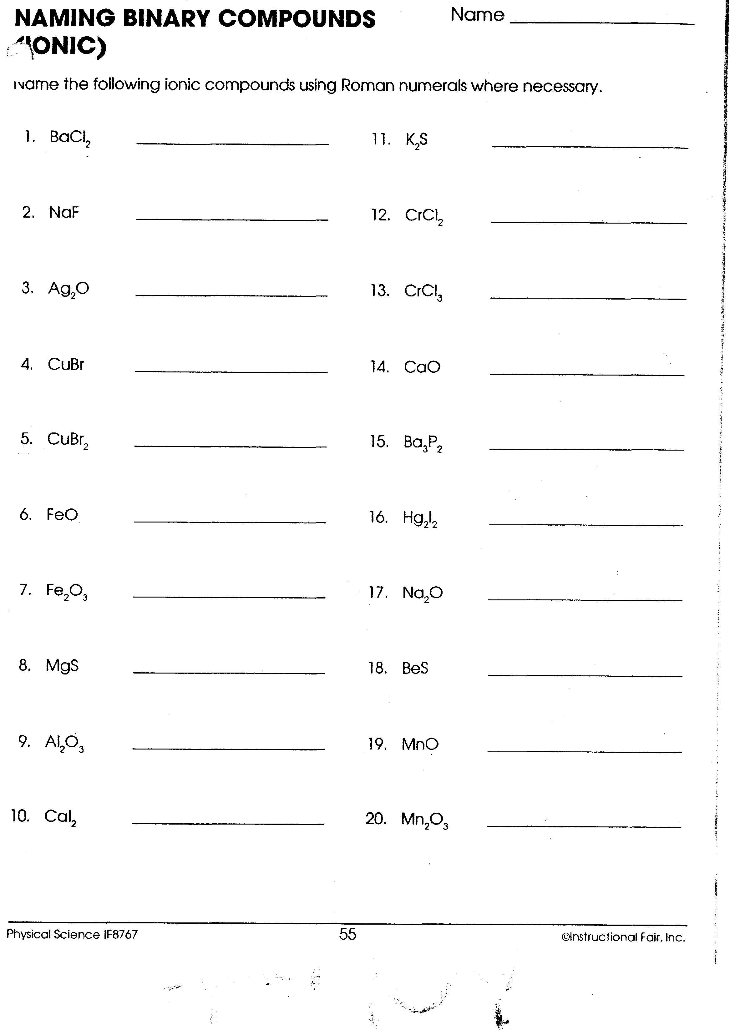Collection Of Ionic Compounds Naming Worksheet