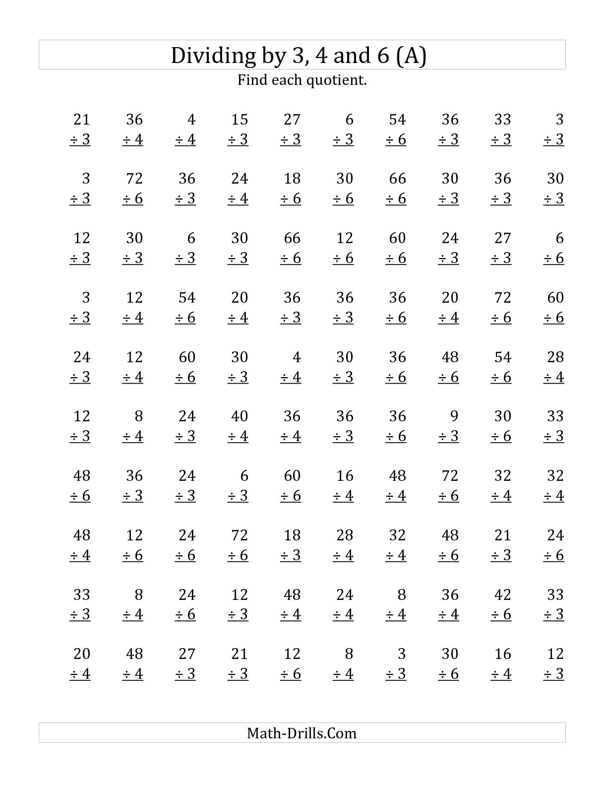 Collection Of Mathematics Division Worksheets