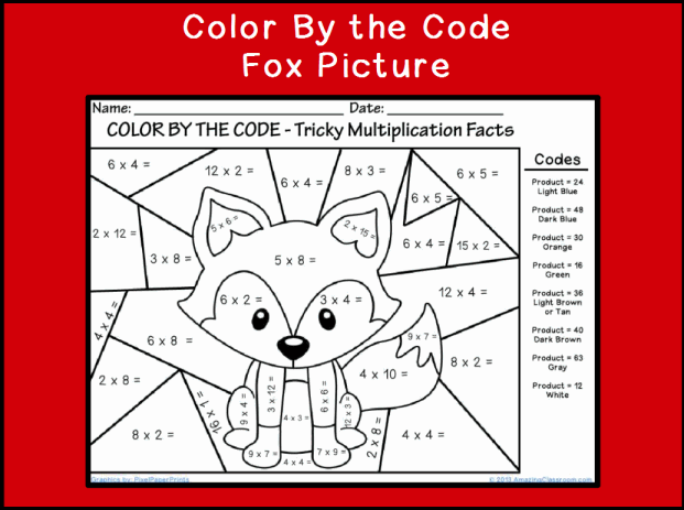 Color By The Code Multiplying Fox Classroom Printable
