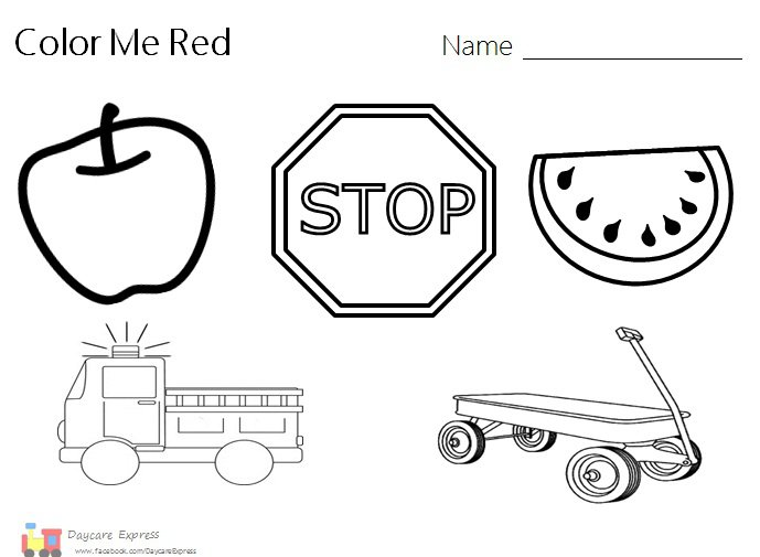 Color Red, Color Red Worksheet, Color Red Preschool, Red Craft