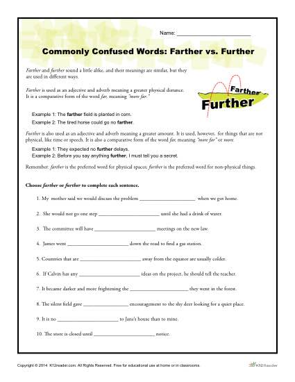 Commonly Confused Words Worksheet  Farther Vs  Further
