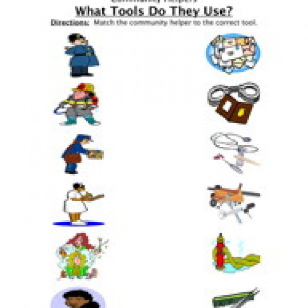Community Helpers Matching Printable Worksheets For All