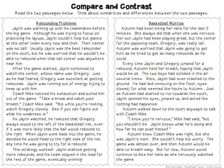 Compare Contrast Worksheets 3rd Grade Worksheets For All