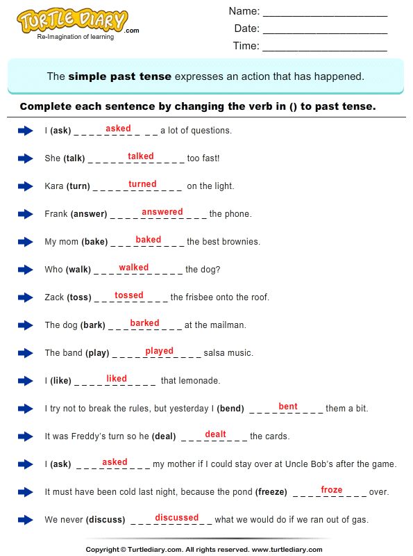 Complete Sentences By Writing Past Tense Form Of Verb Worksheet