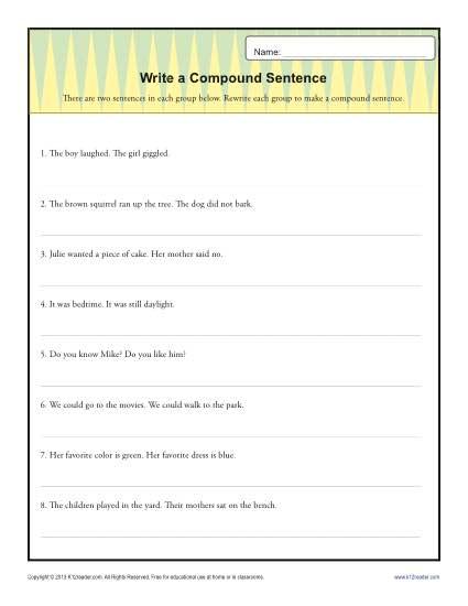 Compound Sentence Worksheet 3rd Grade Worksheets For All