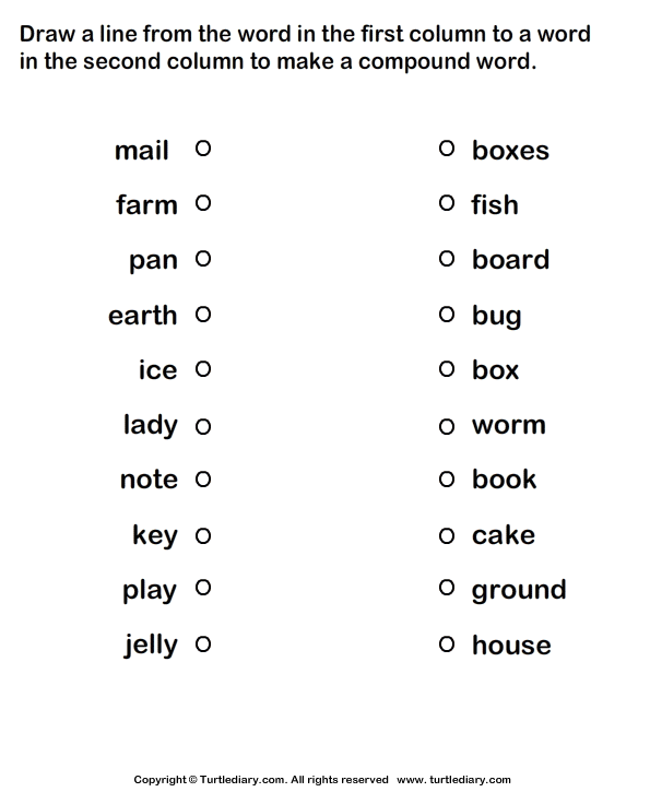 Compound Word Worksheets With Pictures Worksheets For All