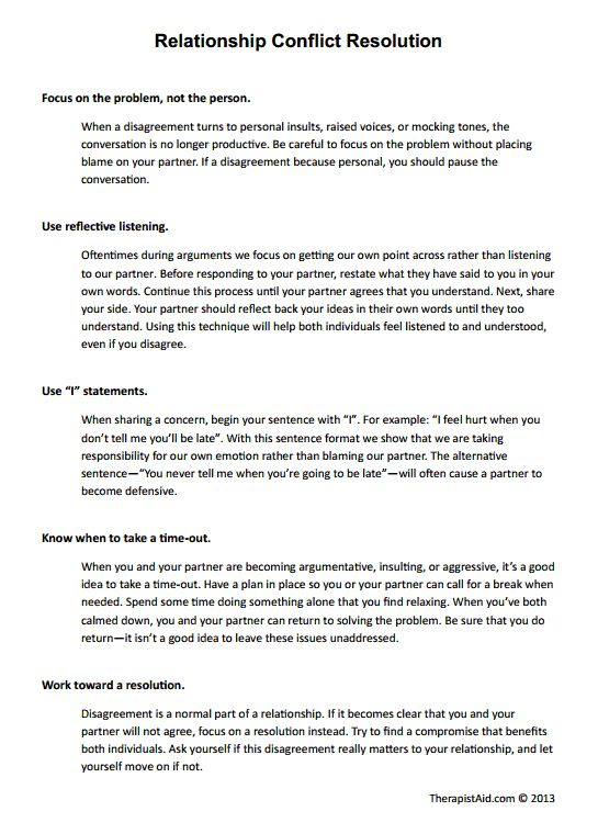 Conflict Worksheets Relationship Conflict Resolution Preview
