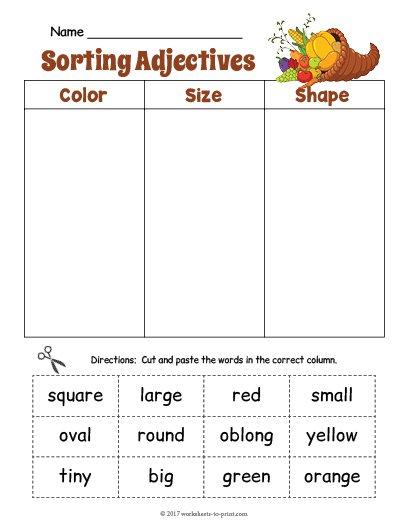 Cornucopia Adjective Sorting Worksheet
