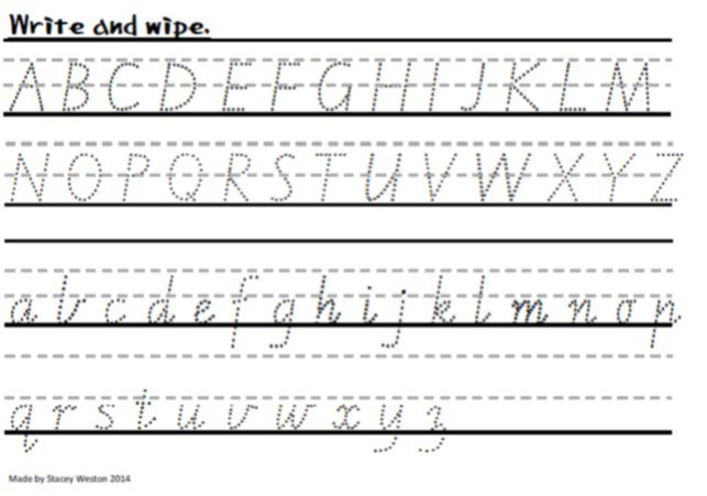 Cursive Dotted Handwriting Practise Sheet A To Z For Year 1