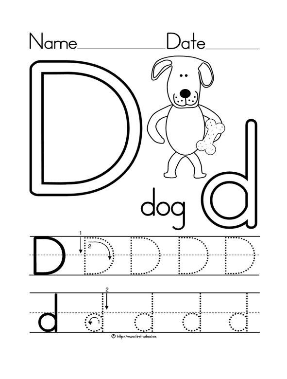 D Coloring Pages Preschool Letter D Worksheet Dog Coloring Page