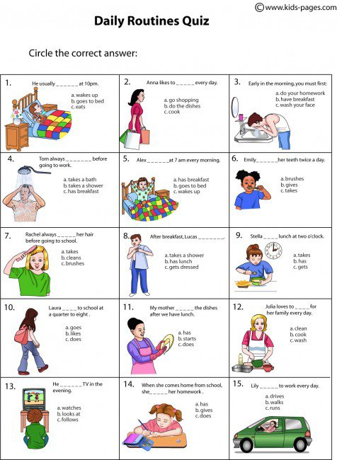 Daily Routines Quiz Worksheet