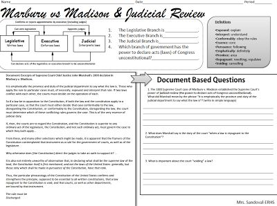 Dbq  Judicial Review  Marbury  Madison Sandoval Lesson Us History