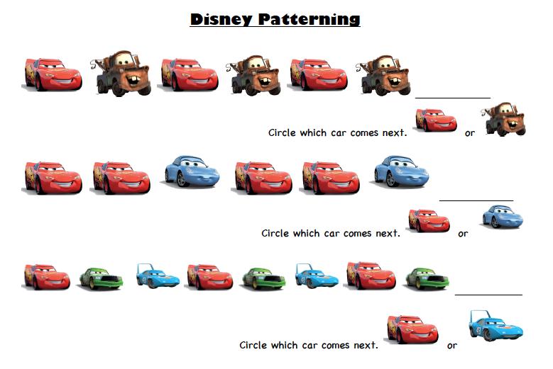 Disney Printable Worksheets Disney Pixar Cars Prek Printable