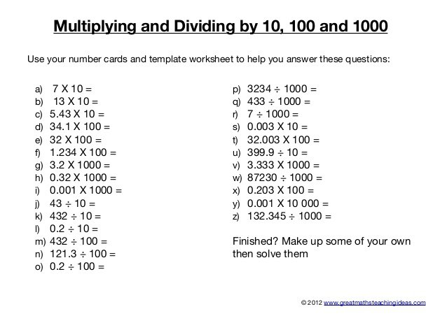 Dividing By 10 100 And 1000 Worksheets Worksheets For All