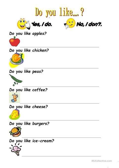 Do You Like  Worksheet