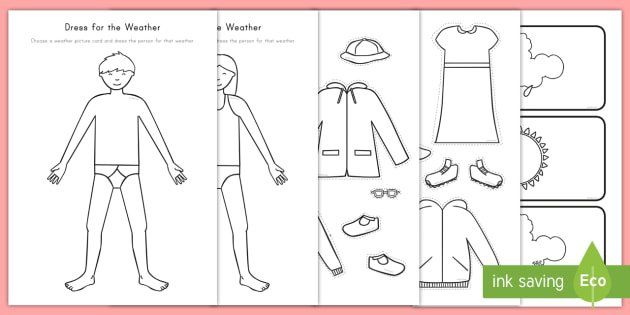 Dress For The Weather Worksheet   Activity Sheet