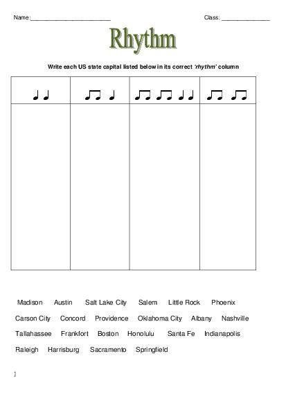 Easy Music Worksheets Worksheets For All