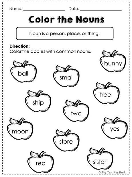 Easy Noun Worksheets First Grade