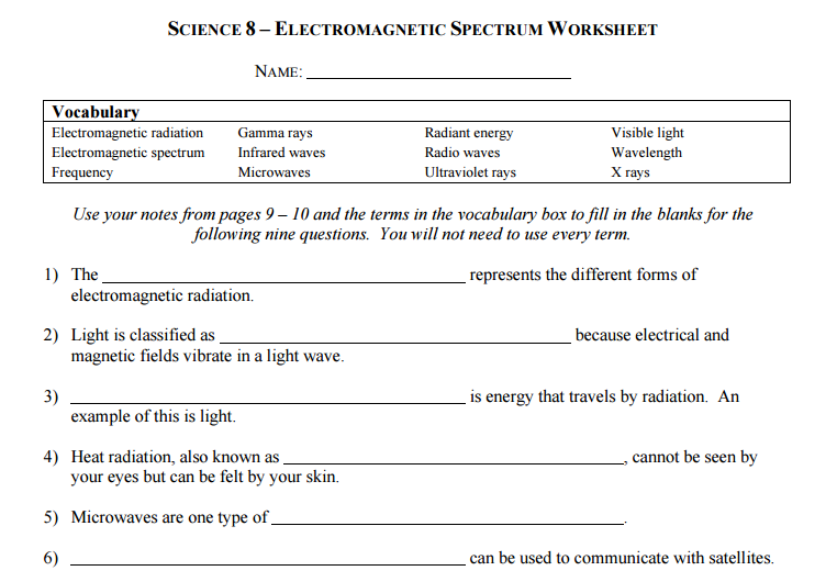Electromagnetic Spectrum Worksheet Science 8 Electromagnetic