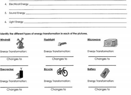 Energy Changes Worksheets