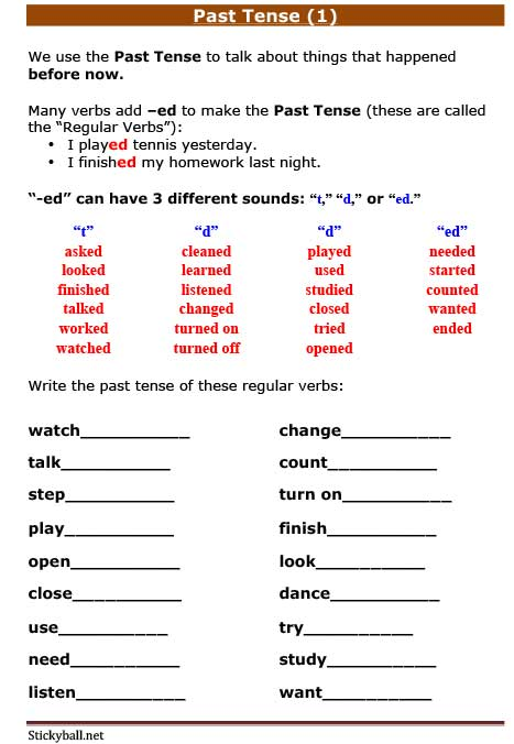 Esl Grammar Worksheets  Past Tense (1)