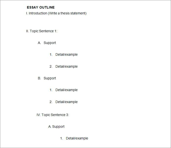 Essay And Outline Example Download Template In Word College