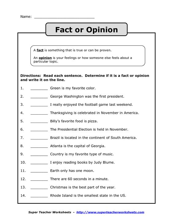 Fact Or Opinion Workshees Worksheets For All