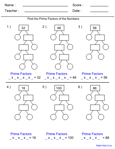 Factor Worksheets With Answer Sheet I Teachersherpa
