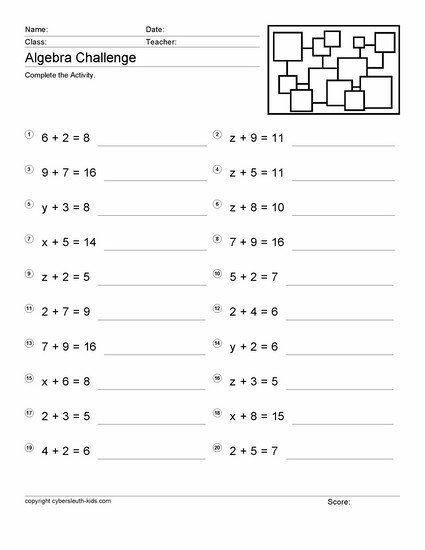 Fair Free Pre Algebra Worksheets For 6th Grade For Your