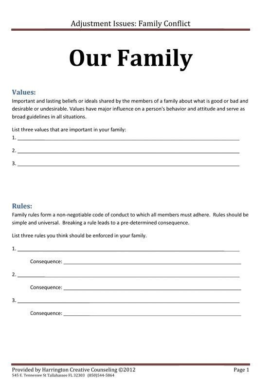 Family Therapy Worksheets