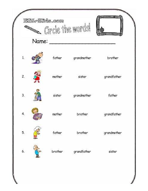 Family Worksheets For Kindergarten