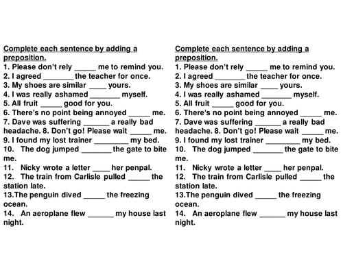 Fill In Missing Prepositions