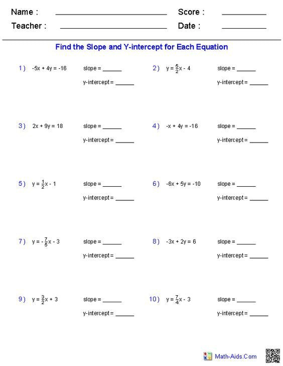 Find The Slope And Y Intercept For Each Equation Worksheet