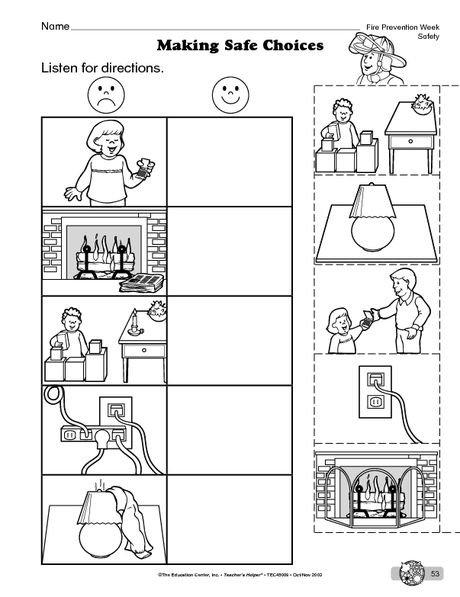 Fire Safety Worksheets For Kindergarten Worksheets For All