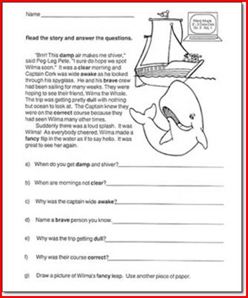 First Grade Comprehension Worksheets Free Worksheets For All