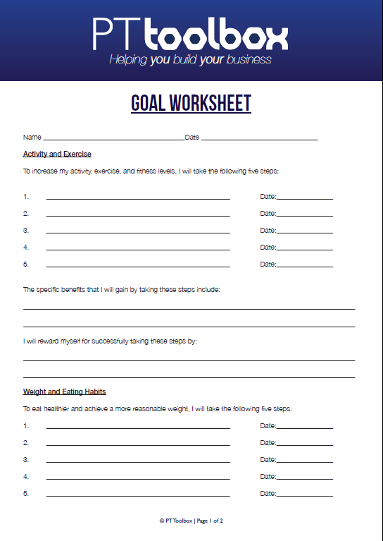 Fitness Goal Template